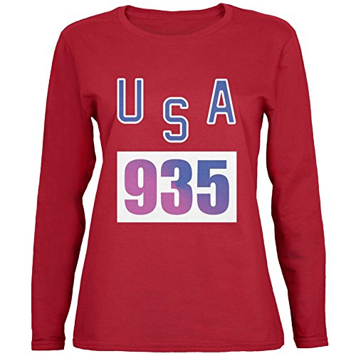 Bruce Jenner Costume (Team Bruce Jenner USA 935 Olympic Costume Red Womens Long Sleeve T-Shirt - Medium)