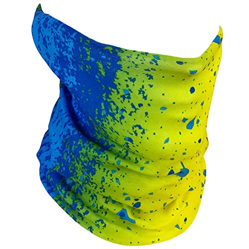 Fishing Mask Camo Headwear - Works as Fishing Sun Mask, Neck Gaiter, Headband, Bandana, Balaclava - Multifunctional Breathable Seamless Microfiber (Mahi Mahi)