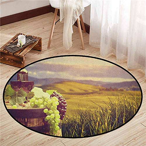 Bedroom Round Rugs,Wine,Italy Tuscany Landscape Rural Vineyard Autumn Harvest Grapes Drink Viticulture,Anti-Slip Doormat Footpad Machine Washable,4'7