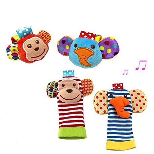 D&&R Infant Baby Foot Socks Wrist Bands Rattles Toys, 2 Pair Baby Rattles,...