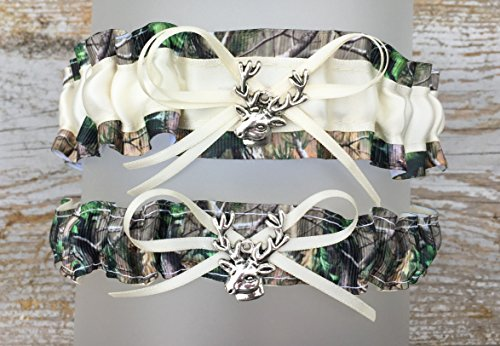 Sexy Camouflage Ivory Satin Camo Prom Wedding Bridal Garter SET - Deer Head Charm