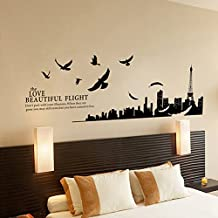 KitMax (TM) Removable Personalized Peace Dove France Paris City Silhouette Nursery Bathroom Kitchen Bedroom Dining Living Room Mirror Office Dorm Home DIY Modern Art Wall Decor Stickers