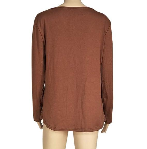 Camiseta Mujeres, LANSKIRT Mujeres Color sólido Slim Fit O-Cuello Collar Bajo Casual botón Manga Larga Tops Blusa Camiseta: Amazon.es: Ropa y accesorios