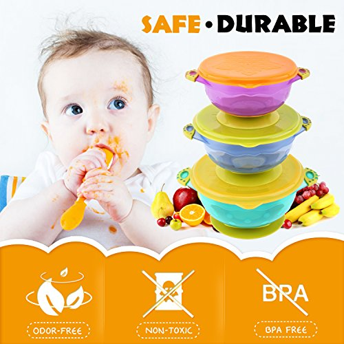 Zooawa Baby Bowls with Suction Base, 3-Pack Nonslip Spill Proof Feeding Training Bowl Dinnerware with Seal Easy Lid for Babies, BPA-Free, for Over 6 Months Infants, Colorful by Zooawa (Image #3)