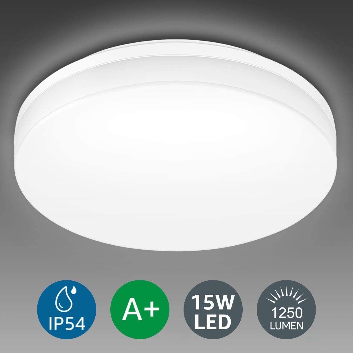 LE 15W Plafón LED Impermeable IP54 Super Brillante 1250LM 5000k Equivalente a 100W Lámpara Incandescente Lámpara LED de Techo Luz de Techo Blanco Frío Ideal para Sala de Estar, Cocina, Balcón, Baño