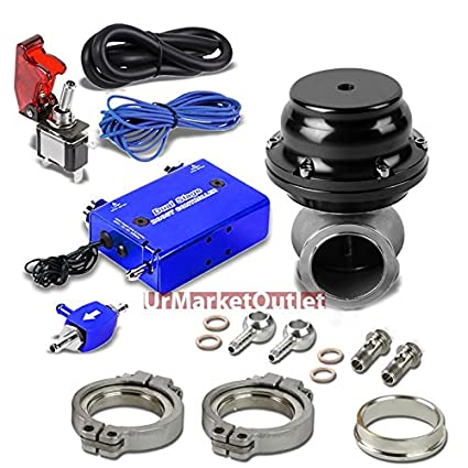 Silver Adjustable Pressure 1-30 PSI Manual Turbo Charger Boost Control+Rocket Switch without Electronic Wastegate// Black 44mm 14 PSI V-Band Clamp-On Manifold Wastegate Kit+Dump Pipe Valve+Sealing Ring