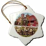 3dRose orn_61741_1 Converse College, Spartanburg, SC Vintage Views Snowflake Porcelain Ornament, 3-Inch