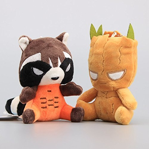 Tree People Groot & Rocket Raccoon 5 Inch Toddler Stuffed Plush Kids Toys 2 Pcs/set