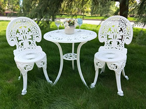 Vanteriam Weather-Resistant Outdoor Patio Furniture 3PC Cast Aluminum Bistro Set, Ivory White