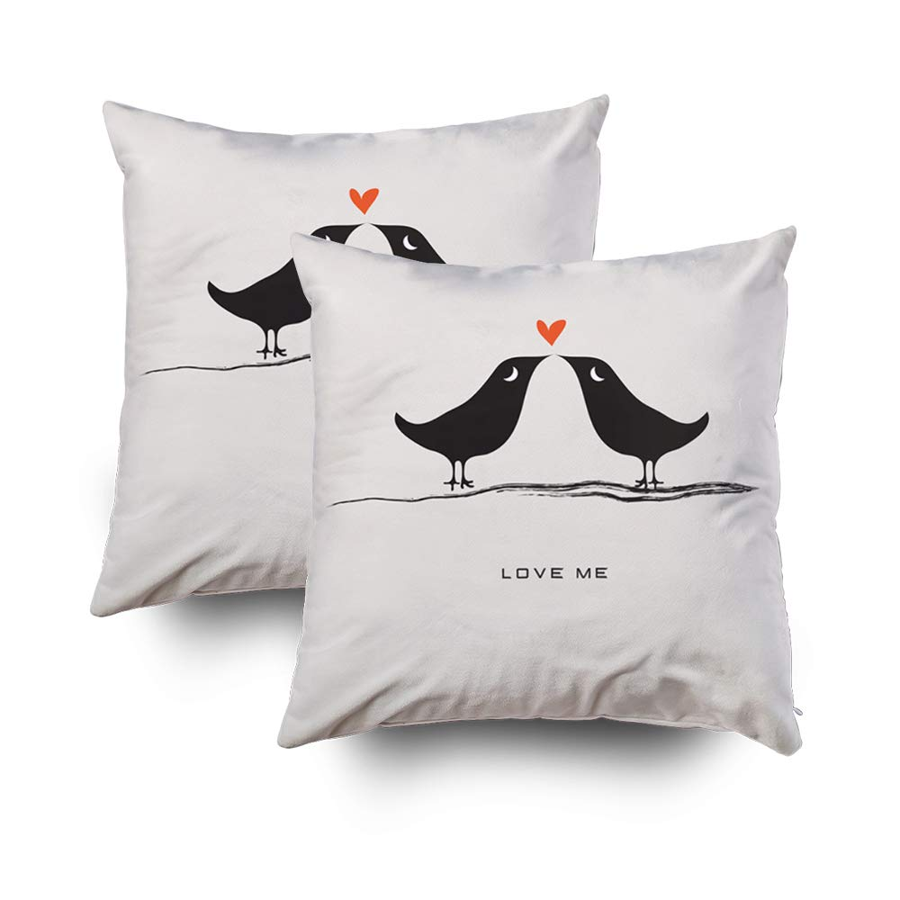 GROOTEY Decorative Cotton Square Set of 2 Pillow Case Covers Zippered Closing Home Sofa Decor Size 20X20Inch Costom Pillowcse Throw Cover Cushion,Pair lovebirds isolated on gray