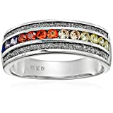 Sterling Silver Rainbow Cubic Zirconia & Glitter Infused Promise Ring, Size 7