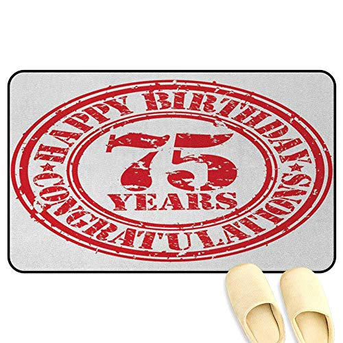 homecoco 75th Birthday Microfiber Absorbent Bath Mat Aged Worn Old Display of a Grunge Rubber Stamp with Congratulation Theme Red and White 3D Digital Printing Mat W19 x L31 INCH
