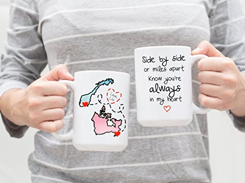 Side By Side or Miles Apart Know You're Always In My Heart Mug - White, Watercolor, Map Display, Grandparents Day (Watercolor Display)