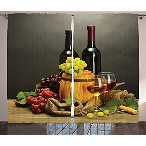 Delicieux ... Bottles And Glasses Of Wine And Ripe Grapes On Wooden Table Decorative  Picture, Window Drapes 2 Panel Set For Living Room Bedroom, 108 W X 84 L  Multi