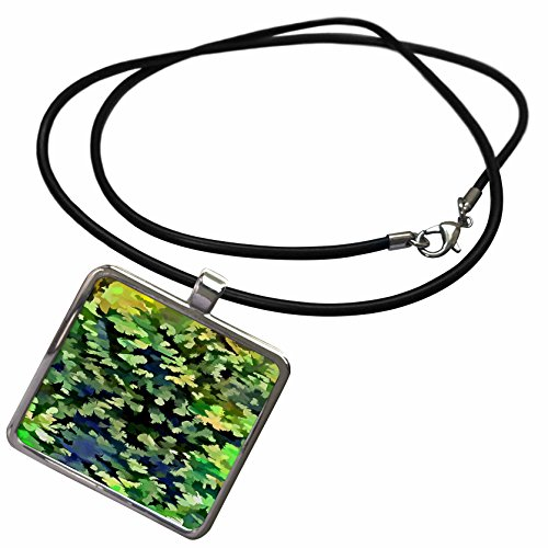 Pendant Jade Purple Beautiful (3dRose Taiche - Acrylic Painting - Abstract - Foliage Abstract Pop Art In Jade Green and Purple - Necklace With Rectangle Pendant (ncl_264428_1))