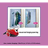 5 Jumbo Vacuum Seal HANGING GARMENT Bags Space Saver Saving SUIT | Coat | Jacket Home Organizer & Travel Storage Bags By Storage Army® protection against Water | Odor | Mildew | Dust/Dirt and Insects.