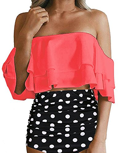 - Women Off The Shoulder Swimsuit Ruffle High Waisted Bikini Polka Dot Bottom 2 Piece