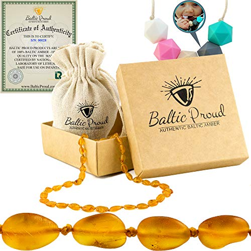 Baltic Amber Teething Necklace For Babies Gift Set (Unisex Honey Raw Oval)+FREE Silicone Teether - Anti Inflammatory, Natural Drooling & Teething Relief, Highest Quality Certified Baltic Amber Jewelry