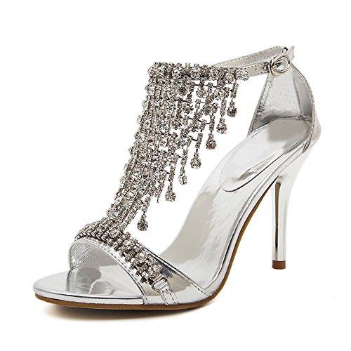 Women's Glittery Stiletto High Heel Ankle Buckle Rhinestone Sandals Silver I5dnaiI5T