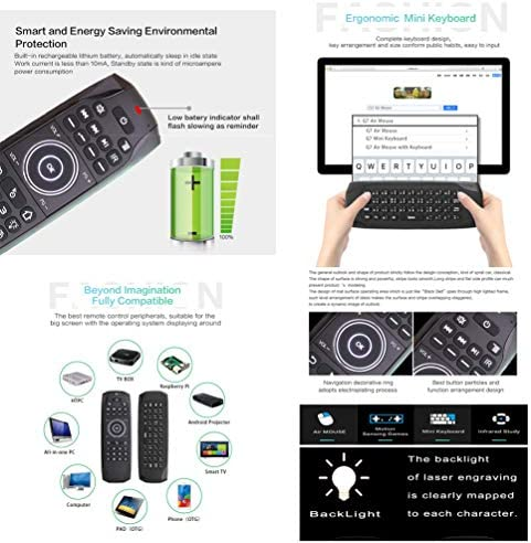 WYXR Ultra-Slim Mini Wireless Touchpad Keyboard All-in-One Wireless Keyboard with Built-in Multi-Touch Trackpad for Smart TV HTPC PC Tablet Google Laptop Windows Android Black