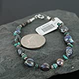 $170 Retail Tag Authentic Made by Charlene Little Navajo Silver Natural Turquoise and Abalone Native American Bracelet