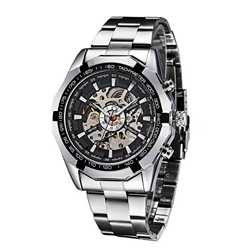 WINNER Black Dial Mens Skeleton Stainless Steel Automatic Mechanical Wrist - Sunglasses Mechanical