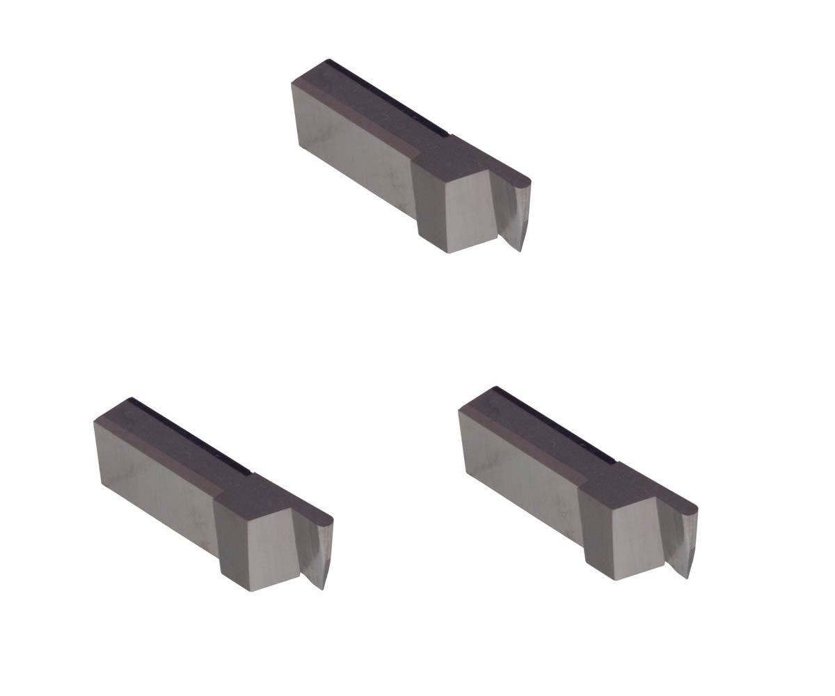 3 Pack LGT050D5RCR010.050 Width.125 Depth, Uncoated Carbide, Corner Radius .010'', THINBIT Grooving Insert for Non-Ferrous Alloys, Aluminium, Plastic No Interrupted cuts