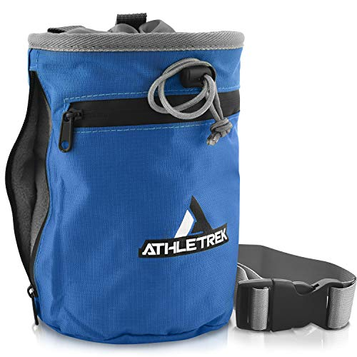 Athletrek Rock Climbing Chalk Bag with Quick-Clip Belt Strap | Two Large Zipper Pockets | Reusable Chalk Ball | Chalk Not Included | Use Also for Bouldering Weight Lifting Gymnastics Crossfit
