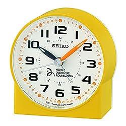 SEIKO Alarm Clock, Plastic, Yellow, 8.2x 7.8x 4.3,