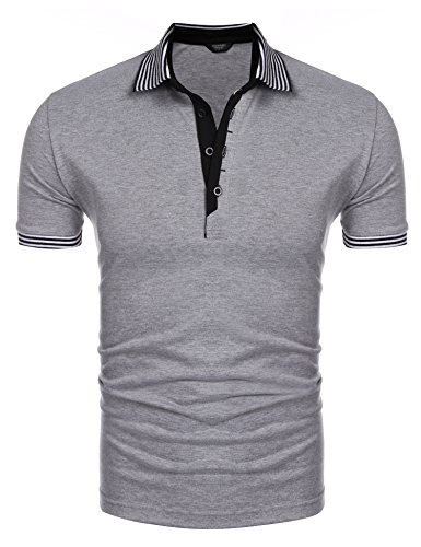 Coofandy Men's Long Sleeve Polo Shirt Casual Striped Collar Classic Fit Cotton T Shirts (X-Large, Grey(short-sleeve))