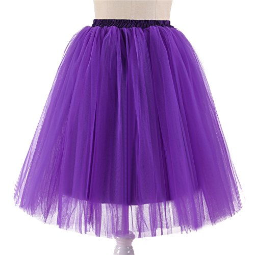 Mi Petticoat jupe tulle BiilyLi Vintage En Tutu Jupe Princesse Tulle 5 Violet en tulle Multi Couch Elastique jupon Robe Taille longue Femme couches R75S5wOYq