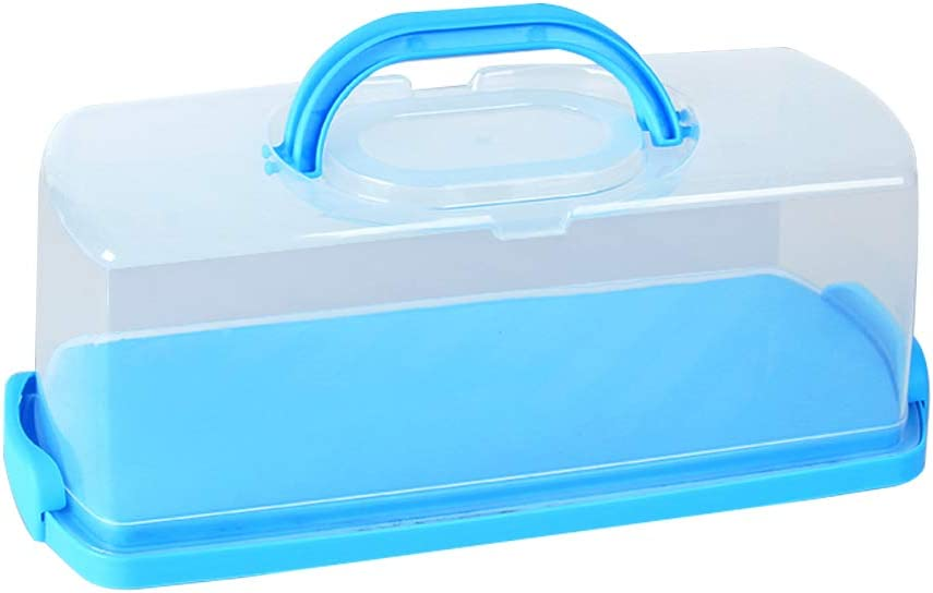 Portable Bread Box with Handle Loaf Cake Container Plastic Rectangular Food Storage Keeper Carrier 13inch Translucent Dome for Pastries, Bagels, Bread Rolls, Buns or Baguettes (Blue)
