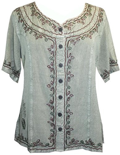109 B Agan Traders Gypsy Medieval Top Blouse (S, Sea - Embroidered Top Sea Green