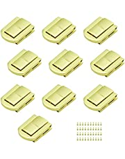 SPTwj 10 Set Toggle Catch Lock Jewellery Box Latch Hasps Suitcase Clip Trinket Box Closures Tool with Includes Screws - Gold