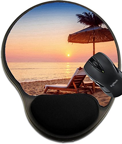MSD Mousepad wrist protected Mouse Pads/Mat with wrist support Vivid sunrise on a beautiful sandy beach with sunshade Image 30990996 Customized Tablemats Stain Resistance Collector Kit Kitchen - Shades Customized