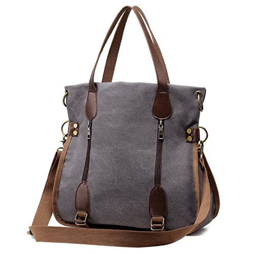 YALUXE Women's Real Leather Canvas Tote Convertible Crossbody Messenger Shoulder Bag