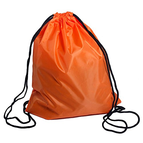 Nylon Cinch (BINGONE Folding Sport Backpack Nylon Drawstring Bag Home Travel Storage Use Orange)