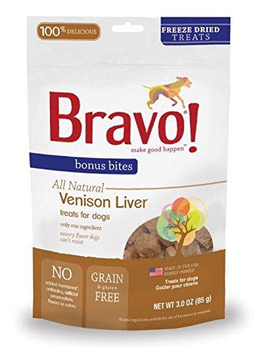 Bravo Bonus Bites Freeze Dried Venison Liver, 3-Ounce by Bravo!