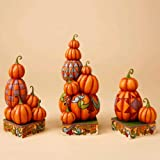 Jim Shore Pumpkin Piles Bring Us Smiles - Three Stacked Pumpkin Figurines