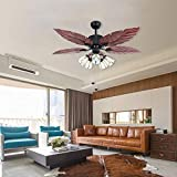 Arkonfire Tropical Ceiling Fan Wooden Blade Fan Remote Control & Pull Control Chandelier For Home Decoration Living Room Dining Room Bedroom Mute Ceiling Fan 52 Inch Review