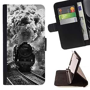 BullDog Case - FOR/Apple Iphone 5C / - / STEAM ENGINE TRAIN RAILROAD /- Monedero de cuero de la PU Llevar cubierta de la caja con el ID Credit Card Slots Flip funda de cuer
