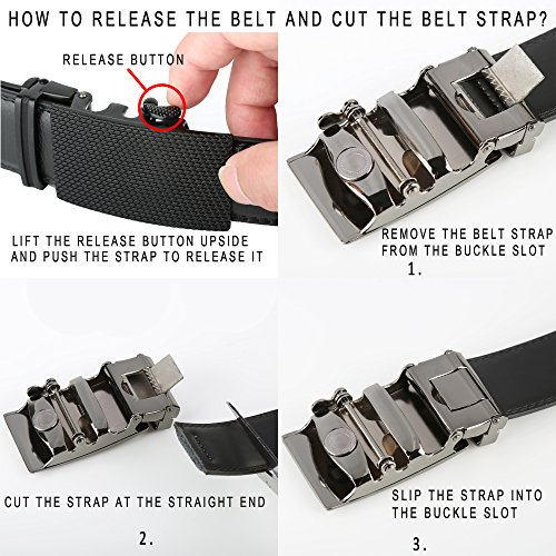 Lavemi Men's Real Leather Ratchet Dress Belt with Automatic Buckle,Elegant Gift Box(25-0711 Black Buckle)