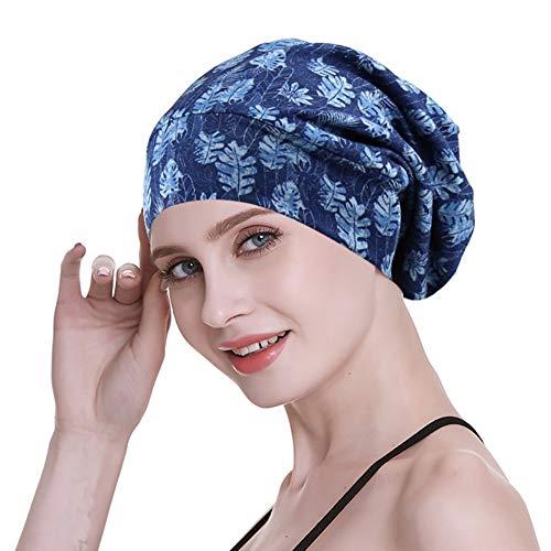 Fresh Liner Satin - Women's Sleeping Hat,Satin Liner Oily Hair Medium Silk Slap Bonnet Denim Blue