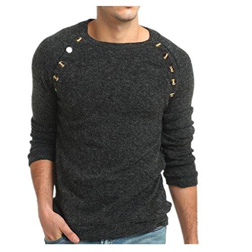 Longay Men's Sweater Plus Size Sweatshirt Slim Fit Long Sleeve Warm Knitting Pullover Top Blouse (S, Dark Gray)