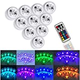 GUQI Submersible LED Lights Underwater Tea Light Remote Controll Battery Operated,3-LED IP68 Waterproof Multi Color Light for Wedding Aquarium Party Christmas Decoration Sets of 10