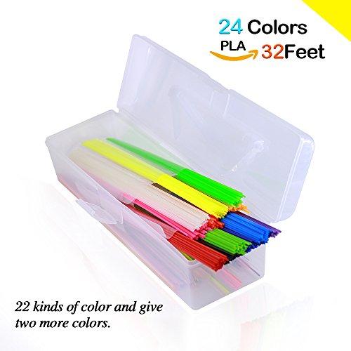 3D Pen Filament Refills PLA 1.75mm NanHong box Kit PLA Filament for 3D Pen 1 Glow in the Dark Colors 3D Printing Pen Filament 22 Colors/32 Feet 3D Pen Refills PLA Filament sticks