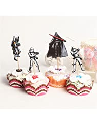 24pcs Star Wars Theme Cartoon Cupcake toppers picks,4 designs Birthday Party Favors for Kids & Adults Cake Accessory Decoration Supplies, Serve 24