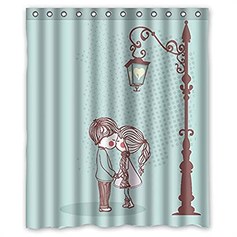 ZEEZON Width X Height / 60 X 72 Inches / W H 150 By 180 Cm Polyester Love Christmas Shower Drape Fabric Is Fit For Birthday Kids Girl Lover Bf Couples. Modern Design