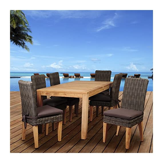 Brampton SC RINREC_6SINGA Amazonia Ashland 7 Piece Teak/Wicker Rectangular Dining Set with Brown - Amazonia Teak Collection Table dimensions: 63lx35wx30h Armchair dimensions: 25lx24wx35h Armchair seat dimensions: 19dx17wx17h Cushion thickness: 2in High Quality Teak Wood (Tectona Grandis) - patio-furniture, dining-sets-patio-funiture, patio - 51ND0HnZQ2L. SS570  -