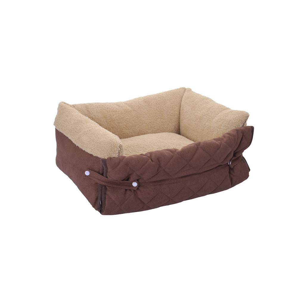 BROWN L BROWN L Detachable Cleaning Flip Pet Nest Pet Sofa Cushion Cat Mattress Flip Warm Pet House pet bed (color   BROWN, Size   L)